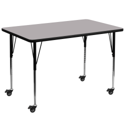 Flash Furniture Mobile 72''W Rectangular Thermal Laminate Activity Table With Standard Height-Adjustable Legs, Gray