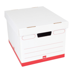 "Office Depot® Brand Standard-Duty Quick Set Up Corrugated Storage Boxes, Letter/Legal Size, 15"" x 12"" x 10"", 60% Recycled, White/Red, Case Of 12"