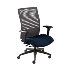 "Global® Loover Weight-Sensing Synchro Chair, Mid-Back, 39""H x 25 1/2""W x 24""D, Blue Bayou/Black"