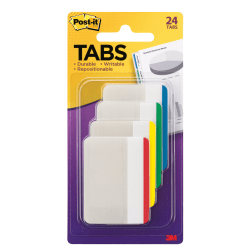 "Post-it® Durable Filing Tabs, 2"", Assorted Colors, Pack Of 24"