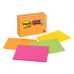 """Post it® Super Sticky Notes, 6"""" x 4"""", Rio de Janeiro, Pack Of 8 Pads"""