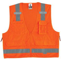 Ergodyne GloWear® Safety Vest, Surveyor's 8250Z, Type R Class 2, Small/Medium, Orange
