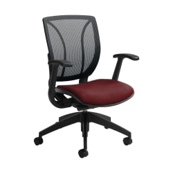 """Global® Roma Mesh Mid-Back Chair, 38""""H x 25 1/2""""W x 23 1/2""""D, Red Rose/Black"""