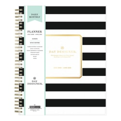 """Blue Sky™ Day Designer Daily/Monthly Planner, 8"""" x 10"""", Black Stripe, July 2020 To June 2021, 120053"""