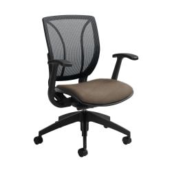 "Global® Roma Mesh Mid-Back Chair, 38""H x 25 1/2""W x 23 1/2""D, Earth/Black"