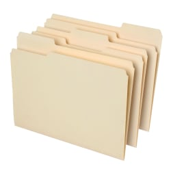Office Depot® Brand File Folders, 1/3 Cut, Letter Size, 30% Recycled, Manila, Pack Of 100 Folders