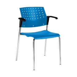 "Global® Sonic Armless Chair, 33""H x 23""W x 21 1/2""D, Caribbean Surf/Chrome"