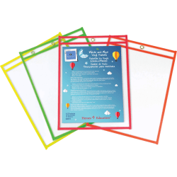 """Sparco Write and wipe Vinyl Pockets, 10"""" x 14"""", Assorted Frames, Pack Of 12"""