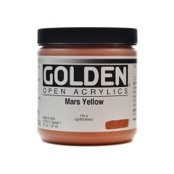 Golden OPEN Acrylic Paint, 8 Oz Jar, Mars Yellow