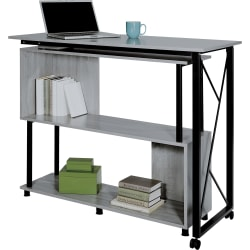 "Safco Mood Rotating Worksurface Standing Desk - Box 1 of 2 - Rectangle Top - 53.25"" Table Top Width x 21.75"" Table Top Depth - 42.25"" Height - Assembly Required - Laminated, Gray - Powder Coated Steel"