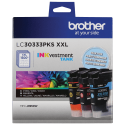 Brother INKvestment Tank LC30333PKS Super-High Yield Cyan/Magenta/Yellow Ink Cartridges, Pack Of 3