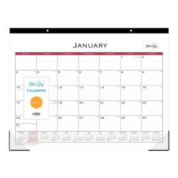 """Blue Sky™ Monthly Desk Pad Calendar, 22"""" x 17"""", Classic Red, January to December 2021, 111294"""