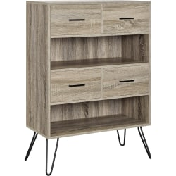 Ameriwood™ Home Landon Retro 2-Shelf Bookcase With Bins, Distressed Gray Oak