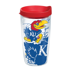 Tervis Genuine NCAA Tumbler With Lid, Kansas Jayhawks, 16 Oz, Clear