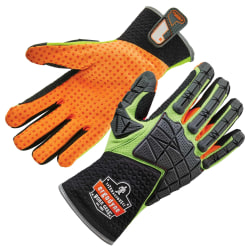 Ergodyne ProFlex 925F(x) Standard Dorsal Impact-Reducing Gloves, Small, Lime