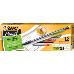 BIC® Mechanical Pencils, Xtra Life, 0.7 mm, Black Barrel, Pack Of 12