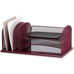 "Safco Onyx 3 Tray/3 Upright Section Desk Organizer - 8.3"" Height x 19.5"" Width x 11.5"" Depth - Desktop - Wine - Steel - 1 Each"