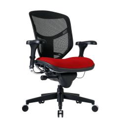 WorkPro® Quantum 9000 Series Ergonomic Mesh/Premium Fabric Mid-Back Chair, Cherry/Black