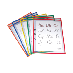 """C-Line® Reusable Dry-Erase Pockets, 9"""" x 12"""", Assorted Primary Colors, Pre-K - Grade 12, Pack Of 5, Set Of 2 Packs"""