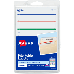 "Avery® Print-Or-Write Permanent Inkjet/Laser File Folder Labels, 5215, 5/8"" x 3 1/2"", Assorted Colors, Pack Of 252"