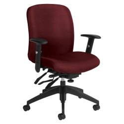 Global® Truform Multi-Tilter Chair, Mid-Back, Red Rose/Black
