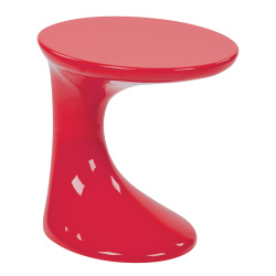 Ave Six Slick Table, End, Round, High-Gloss Red