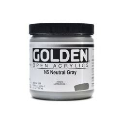 Golden OPEN Acrylic Paint, 8 Oz Jar, Neutral Gray N5