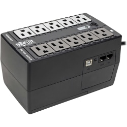 Tripp Lite UPS 600VA 325W Desktop Battery Back Up Compact 120V USB Standby 50/60Hz 5-15P PC - 600VA/300W - 1 Minute Full Load - 10 Outlet x NEMA 5-15R