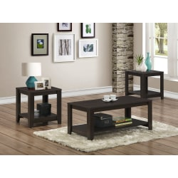 Monarch Specialties 3-Piece Coffee Table Set With Shelves, Rectangle, Cappuccino
