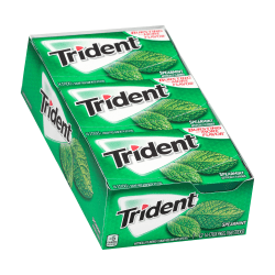 Trident® Sugar-Free Spearmint Gum, 14 Pieces Per Box, Pack Of 12 Boxes