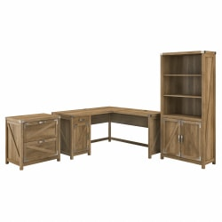 "Kathy Ireland Home by Bush® Furniture Cottage Grove 60""W L Shaped Desk with Lateral File Cabinet and 5 Shelf Bookcase, Reclaimed Pine, Standard Delivery"