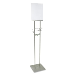 "Buddy 100% Recycled Lobby Sign Holder Stand, 12""H x 12""W x 48""D, Silver"