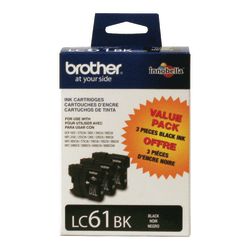 Brother® LC61BK Black Ink Cartridges, Pack Of 3