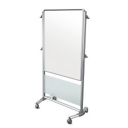 """Ghent Nexus Mobile 2-Sided Magnetic Dry-Erase Whiteboard, Porcelain, 76-1/8""""H x 40-3/8""""W x 25-1/8""""D, Metal Frame"""