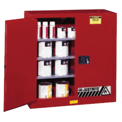Safety Cabinets for Combustibles, Manual-Closing Cabinet, 40 Gallon, Red