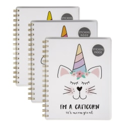 """Office Depot® Brand Fashion Notebook With Stickers, 6"""" x 8"""", College Ruled, 160 Pages (80 Sheets), Animal Corn"""