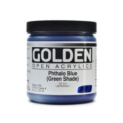 Golden OPEN Acrylic Paint, 8 Oz Jar, Phthalo Blue (Green Shade)