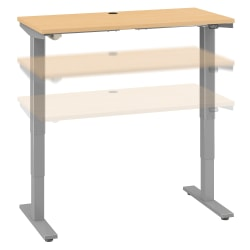 """Move 40 Series by Bush Business Furniture Height-Adjustable Standing Desk, 48"""" x 24"""", Natural Maple/Cool Gray Metallic, Standard Delivery"""