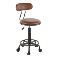 LumiSource Swift Task Chair, Antique Metal/Brown