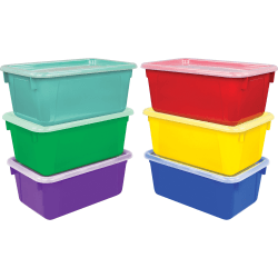 "Storex Clear Lid Small Cubby Bin - 5.1"" Height x 7.8"" Width12.2"" Length - Assorted Bright - Plastic - 6 / Carton"