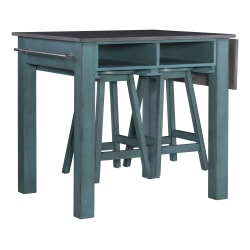 "Powell Home Fashions Bailey 3-Piece Kitchen Island Set, 34""H x 30""W x 36""D, Brown/Teal"