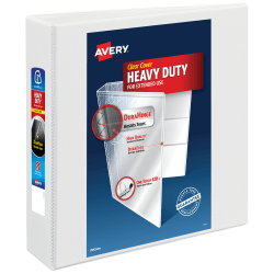"""Avery® Heavy-Duty View 3-Ring Binder With Locking One-Touch EZD™ Rings, 2"""" D-Rings, 49% Recycled, White"""