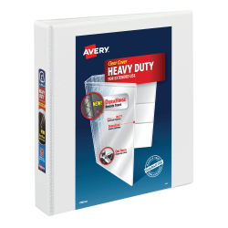 """Avery® Heavy-Duty View Binder, With Locking One-Touch EZD™ Rings, 8 1/2"""" x 11"""", 1 1/2"""" Rings, 51% Recycled, White"""