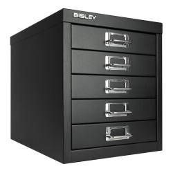 "Bisley 15""D Vertical 5-Drawer Storage Cabinet, Metal, Black"