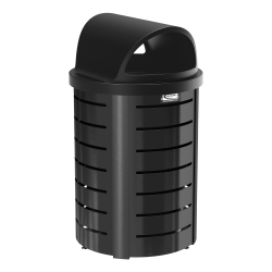 Suncast Commercial® Outdoor Decorative Round Metal Trash Can With Roto-Molded Lid, 35 Gallons, Black