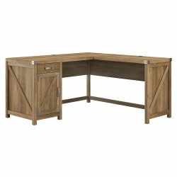 """Kathy Ireland Home by Bush® Furniture Cottage Grove 60""""W L Shaped Desk with Drawer and Storage Cabinet, Reclaimed Pine, Standard Delivery"""
