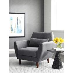 Serta® Artesia Collection Arm Chair, Slate Gray/Chestnut