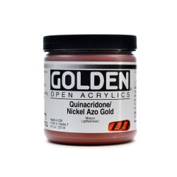Golden OPEN Acrylic Paint, 8 Oz Jar, Quinacridone/Nickel Azo Gold