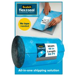 "Scotch® Flex & Seal Shipping Roll, 15"" x 50', Light Blue"