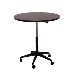 Boss® Mobile Round Height-Adjustable Table, Mahogany/Black